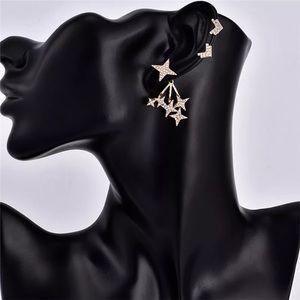 Gold Chevron & Stars Crystal Ear Cuff Earring Set